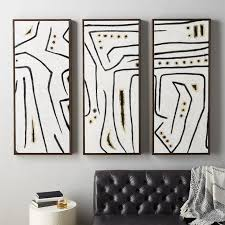 Abstract Art Black And White Patterns Ants On A Log Winding Patterns Abstract Paintings Set