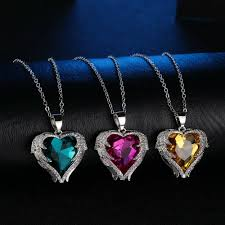 details about angel wings necklace rhinestone studded crystal heart pendant s925 silver
