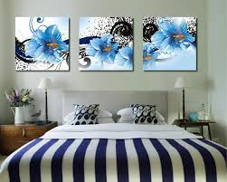 2018 modern art blue flower painting factory outlets frameless canvas painting home decoration triple painting wall art new arrival hot sale from  on canvas wall art blue flowers with 2018 modern art blue flower painting factory outlets frameless