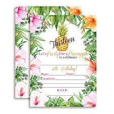 13th Party Invitations 13th Birthday Tropical Party Like A Pineapple Invitations