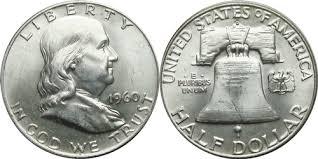 Franklin Half Dollar Values By Year 1960 D Franklin Half