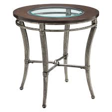 stein world verona round metal with wood and glass top end