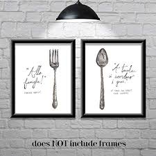 Image Watercolor Amazoncom Amazoncom Kitchen Utensil Wall Art Prints Vintage set Of