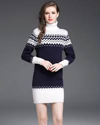 shop-Nordic Stretch-Knit Turtleneck Sweater Dress-Sweater Dress-at-Doll