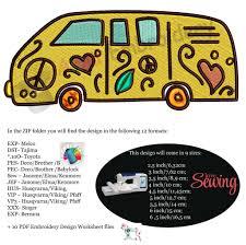 Embroidery Camper Designs Hippie Bus Car Beetle Van Camper Machine Embroidery Applique Designs 9 Sizes Instant Download Pes