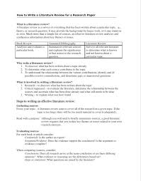 how to write a literature review a