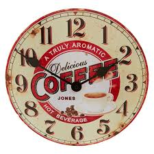 jones coffee wall clock boxed for 8