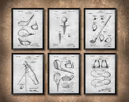 more colors on golf club wall art with golf club patent etsy