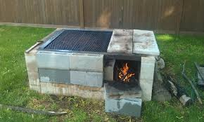 image of simple cinder block outdoor fireplace