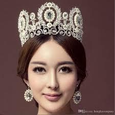 3 Couleur Gros Mariée Couronne Reine Luxe Diamant Or Princesse Grande Couronne Mariage Coiffure Mariage Photographie Bijoux