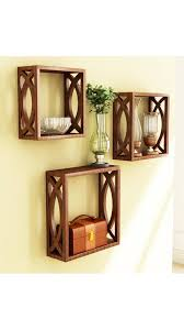 buy home store brown wooden wall shelf of wall decor online at low