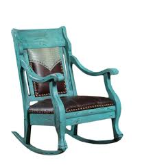 distressed turquoise finish rocking chair with leather seat and crocco embossed yoke western furniture and