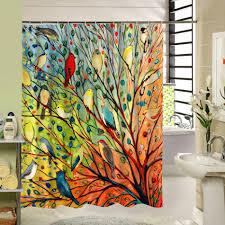 Abstrakten Baum Und Vögel Duschvorhang Stoff Bunte Polyester Druck