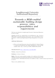 Loughborough University Architectural Engineering And Design Management Pdf Towards A Bim Enabled Sustainable Building Design