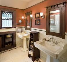 craftsman bathroom with white tiles flor white tiles wainscoting brown painted walls brown