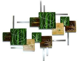 2pc hunter green and brown abstract art square wood and metal wall sculpture on green and brown metal wall art with 2pc hunter green and brown abstract art square by divaart69 on zibbet