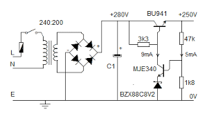 dc power supply design this example shows a supply designed to provide 250v dc the zener diode is chosen because its temperature coefficient of 0 03% c balances the 0 028% c