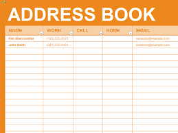 contact directory template free excel template personal address book organizing