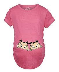Crazy Dog Maternity T Shirt Peeking Twin Girls