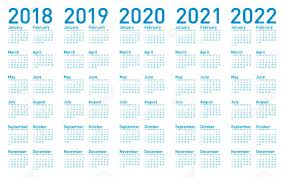 Calander Years Simple Blue Calendar For Years 2018 2019 2020 2021 And 2022