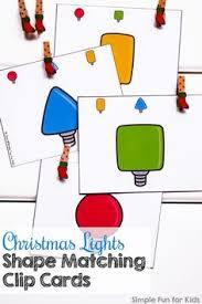 shapes and colors for toddlers.  Shapes Day 11 Christmas Lights Shape Matching Clip Cards With Shapes And Colors For Toddlers
