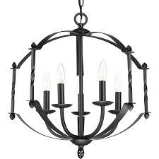 progress lighting greyson 5 light black rustic candle chandelier