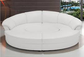 white circular leather sectional sofas