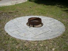 stamped concrete patio with square fire pit. Cool Fire Pit Surround. Stamped Concrete Patio With Square