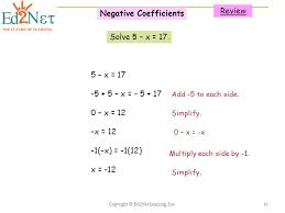 negative coefficients 11 solving multi step equations
