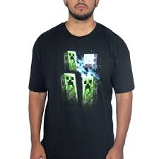 Jinx Mojang Minecraft Three Creeper Moon Black Licensed T-Shirt ...