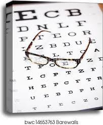 Lying Eye Chart Glasses Lying On Eye Test Chart Canvas Print