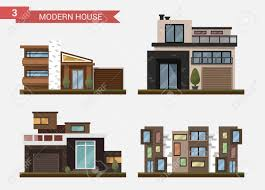 modern private home office. Vector - Flat Illustration Traditional And Modern House. Family Home. Office Building. Private Pavement, Backyard With Garage. Architecture Home U