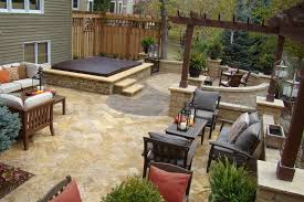 deck patio with fire pit. Deck Designs With Hot Tub Also Outdoor Fire Pit And Planters Pergola Contemporary Furniture Trees Plus Decorative Throw Pillow Patio
