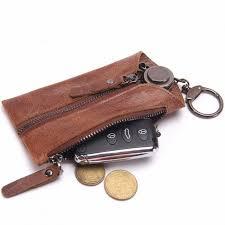 genuine leather key wallet pouch business style door car key zipper case bag holder keychain key organizer housekeeper black free dealextreme