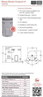rheem 125 litre hot water system. rheem compact 191045g7 50l 3.6kw 125 litre hot water system
