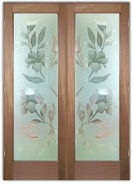 etched designs exterior glass doors frosted hibiscus