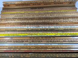 lot of 30 vintage wooden yardsticks advertising furniture making crafts