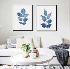plant wall art set navy blue print set