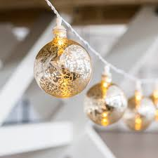 Mercury Glass String Lights Decorative Battery Operated Led String Lights Gold Mercury Globe
