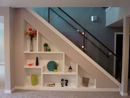 Modern Storage Under Stair With Plaid White Shelves And Glass Transparent  Handrail