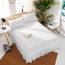 white pleats bed skirts solid bedding sheets mattress cover decor protector st58 bedspread home dorm bedding covers bed skirt bed skirt white pleats