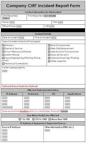 A Sample Incident Response Report Form Enterprise Security A Data