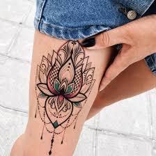 временная татуировка купить лотос цветная