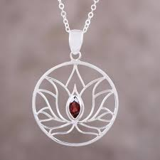 garnet sterling silver lotus flower pendant necklace lotus heart