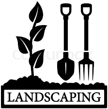 tools icon black. black landscaping icon with sprout and gardening tools silhouette | stock vector colourbox
