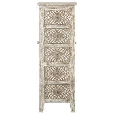 kianna 5 drawer jewelry armoire with mirror in silver off white