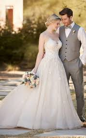 ball gown wedding dress with tulle skirt essense of australia