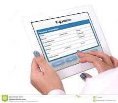 Registration Form On Tablet Computer Stock Image Image Of