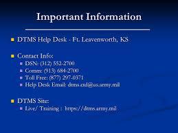 2 important information dtms help desk