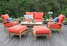 7 Piece Teak Wood Outdoor Patio Seating Set Garden Furniture Red